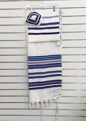 Tallit, Kippah & Bag, White/Blue