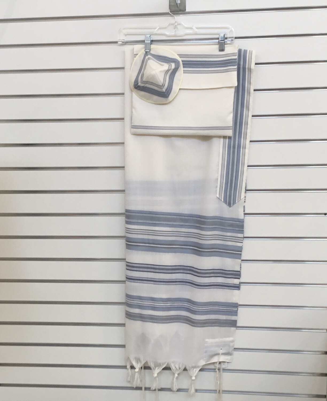 Tallit Set Light Blue Stripes on White