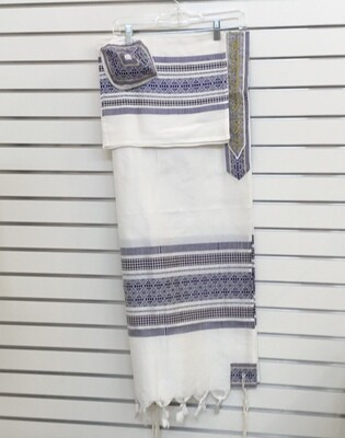Tallit Set with Kippah and Bag  White w/ Blue Pattern and Gold
