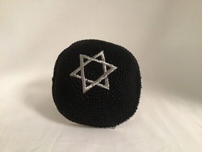 Knit Kippah - Black with Silver Star