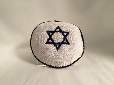 White Knit Kippah - Navy Star