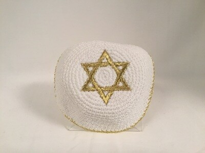 White Knit Kippah - Gold Star
