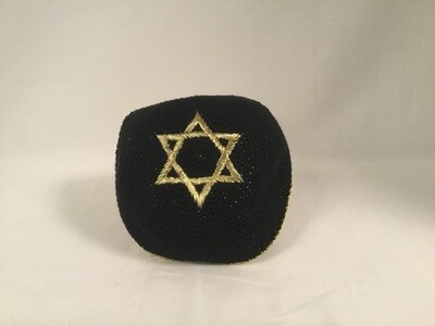 Black Knit Kippah - Gold Star