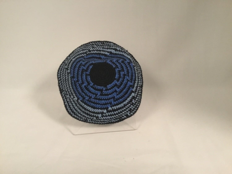Knit Kippah - Cascading Blue