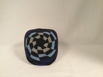 Knit Kippah-  Blue/Black/Grey