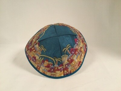 Embroidered Kippah - Jerusalem on Blue