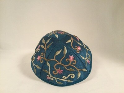 Embroidered Kippah - Floral on Blue