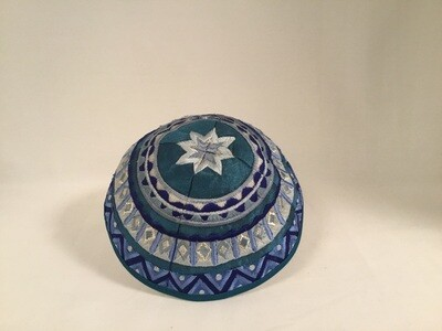 Embroidered Kippah - Shades of  Blues