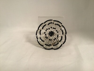 Black Beaded Ladies Yarmulka with Comb