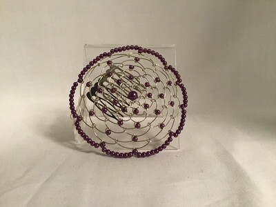 Purple Beaded Ladies Kippah with Comb