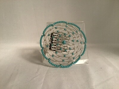Turquoise Beaded Ladies Kippah with Comb