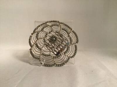 Silver Beaded  Ladies Kippah with Comb