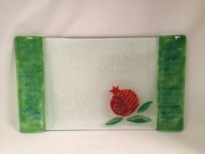 Pomegranate Glass Challah Tray with Green Edges