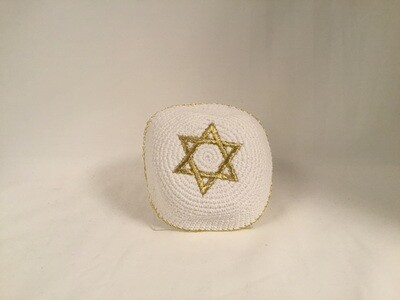 White Knit Kippa - Gold Star
