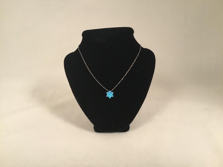 "Light Blue Opal ""Star of David"" Pendant on Sterling Chain"