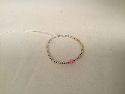 Pink Opal Star  on Sterling Silver Beaded Bracelet