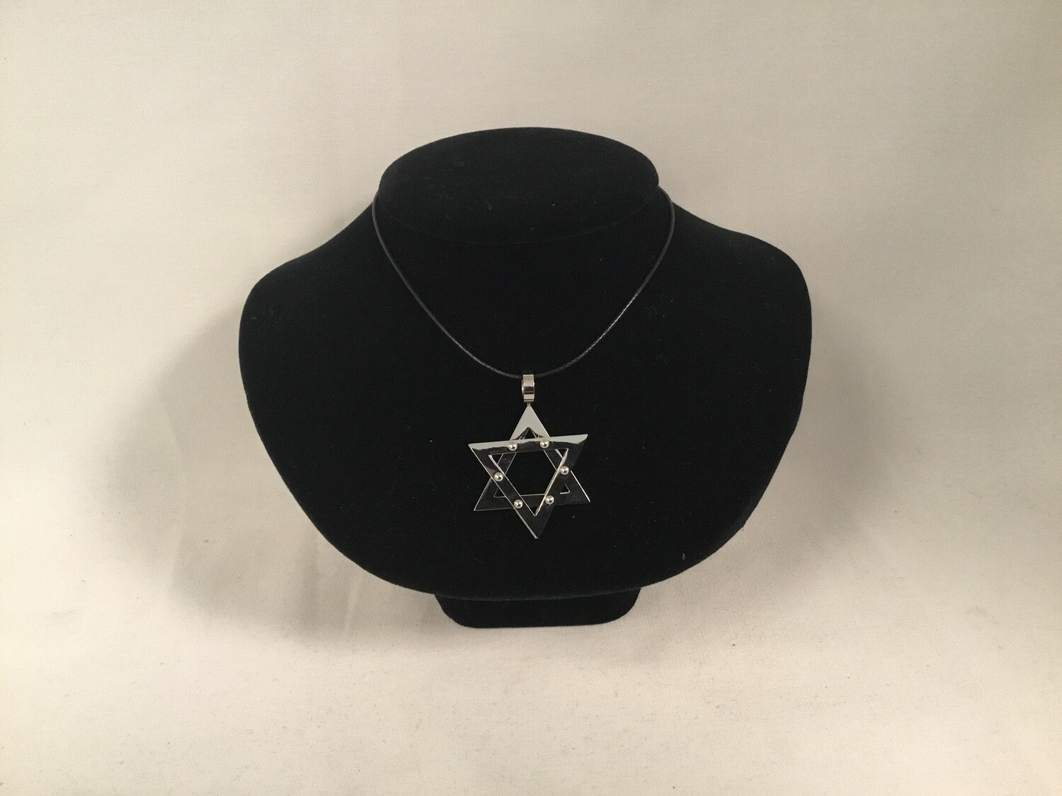 """Large Star of David on 20"""" Black Leather Cord"""
