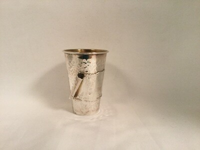 Sterling Silver Hammered Contemporary Kiddush Cup- scroll design