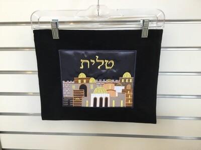 Black Velvet Tallit Bag - Jerusalem