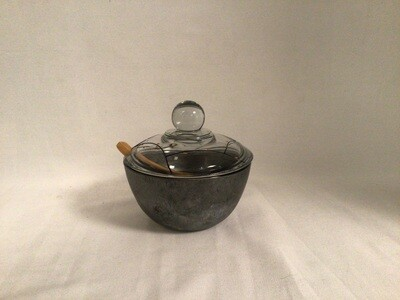Lidded Painted Glass Bowl with Spoon - Modern