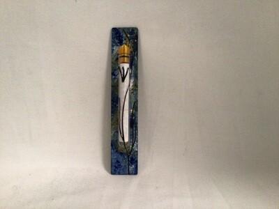 Hand Painted Glass Mezuzah -Ocean Breeze