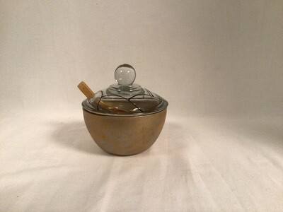Lidded Painted Glass Bowl with Spoon - Royal