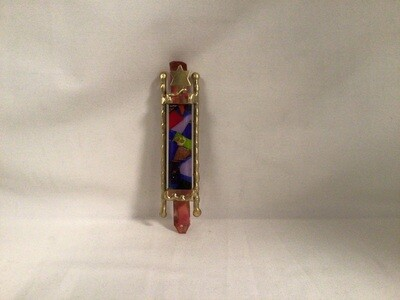 Mezuzah with Straight Brass Rods Multi color