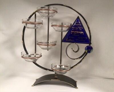 Circular Seder Plate with Hanging Bowls
