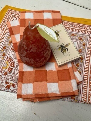 Mix N Match Set Of 2 Each Plaid Napkins & Placemats w Pear Candle & Complementary Matches