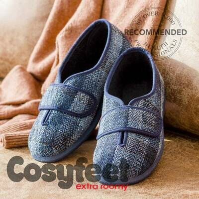 Cosyfeet Ronnie Navy Plaid Mens Tartan Slippers