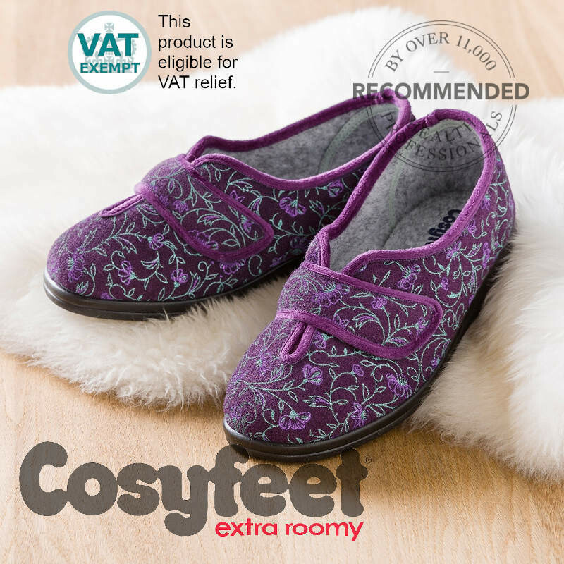 Cosyfeet Diane Plum Floral Ladies Slippers