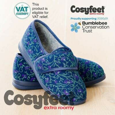 Cosyfeet Holly Midnight Floral Ladies Slippers