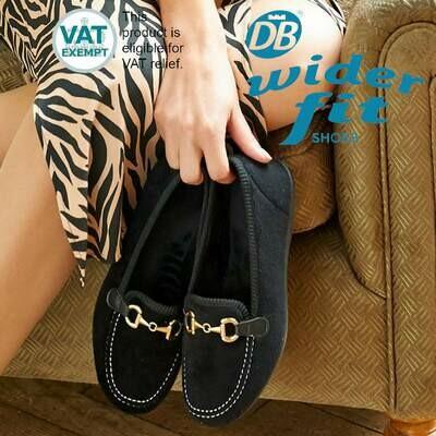 DB Wider Fit Martha House Shoes Black