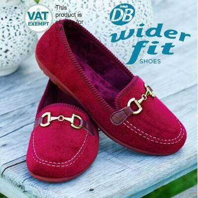 DB Wider Fit Martha House Shoes Burgundy