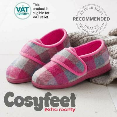 Cosyfeet Holly Pink Check Ladies Slippers