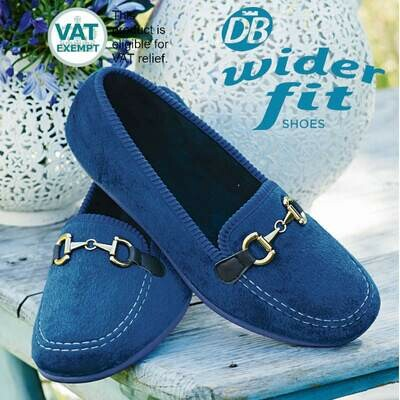 DB Wider Fit Martha House Shoes French Blue