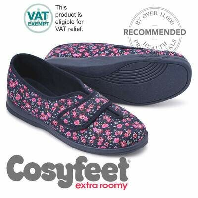 Cosyfeet Sally Navy Pink Floral House Shoe