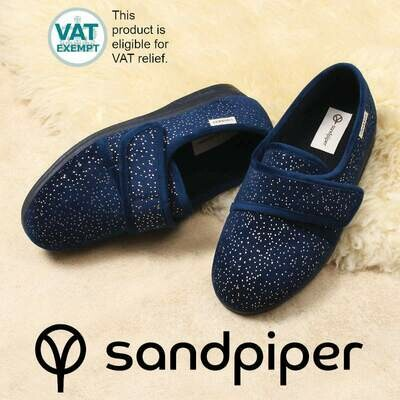 Sandpiper Navy Sparkle Ladies Slippers