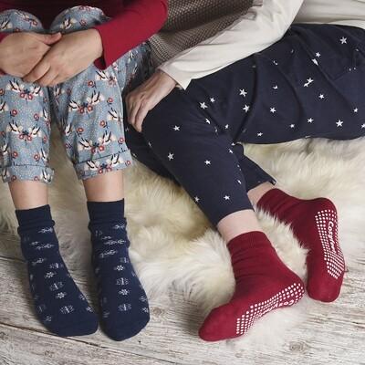 Cosyfeet Gripper Socks Navy Snowflake
