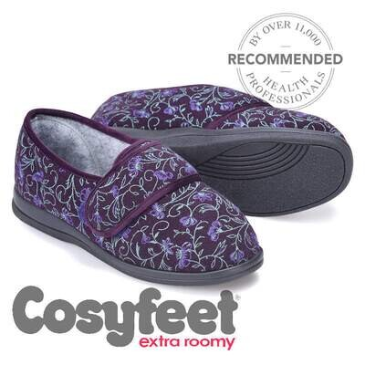 Cosyfeet Holly Purple Floral Ladies Slippers