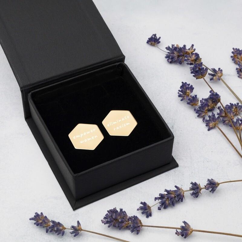 Sterling Silver Hexagon Mission Stud Earrings