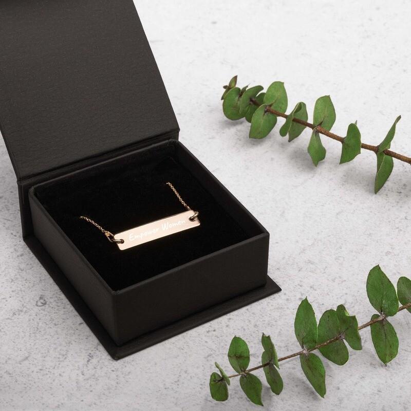Empower Women Engraved Bar Chain Necklace