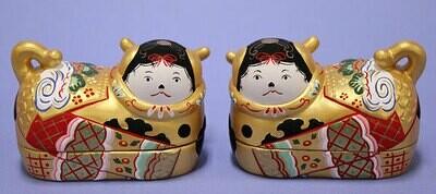INUBAKO POTTERY: A pair of small size Kichi-Fuku