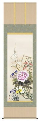 Japanese flowers of four seasons. Code: hng-scrl_a1-036