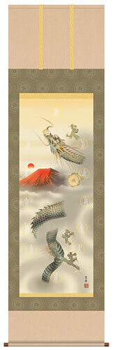 The piture of a rising dragon and 12 gods Code: hng-scrl_d5-035