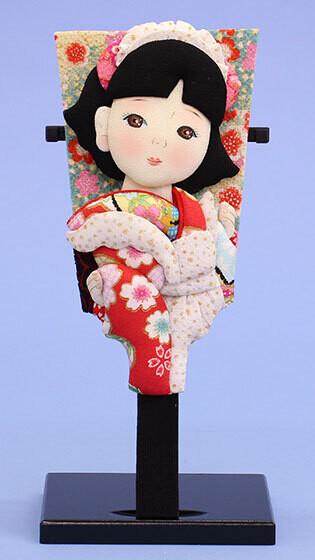 Sekku Hagoita Kimono Girl with Meido clothes.