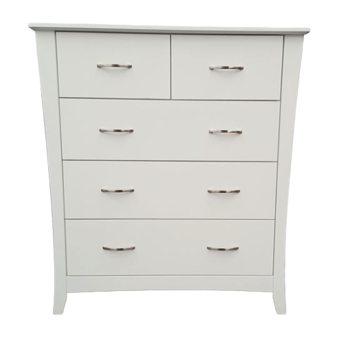 Country 5 Drawer White Tallboy