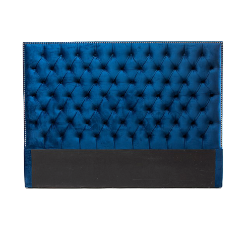 Tufted Velvet Headboard (Navy Blue)