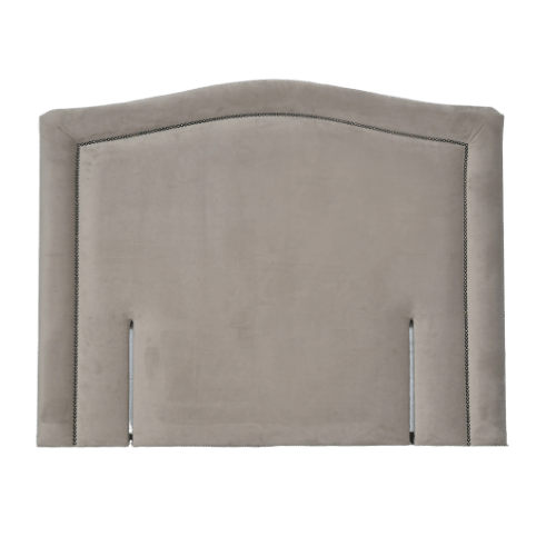 Fabric Upholstered Queen Headboard with Nailhead Trim and Curved Shape