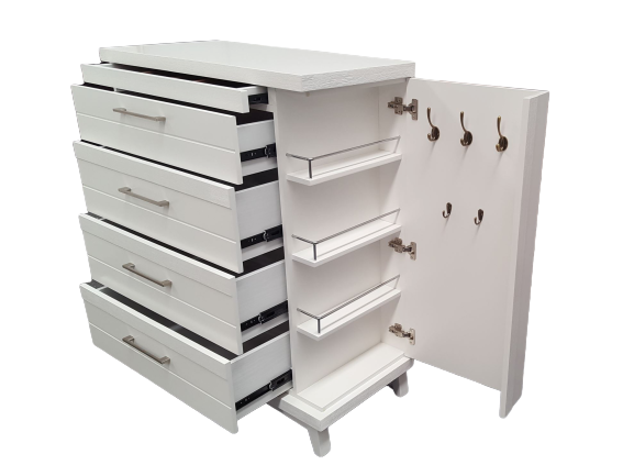 Majestic 5 Drawer White Tallboy